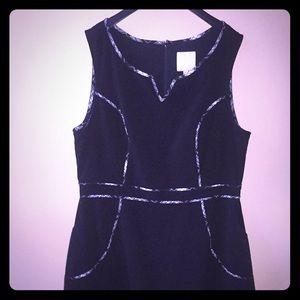 ModCloth black dress with plaid tartan piping